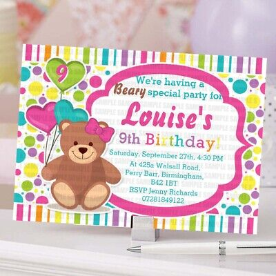 PERSONALISED COLOURFUL TEDDY Bear Birthday Party Invitations Card Boys Girls UK