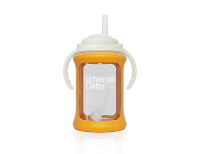 Cherub Baby Glass Straw Cup 240ml ORANGE FREE Postage