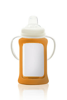 Cherub Baby Glass Sippy Cup & Silicone Shock Proof Sleeve Wide Neck 240ml ORANGE