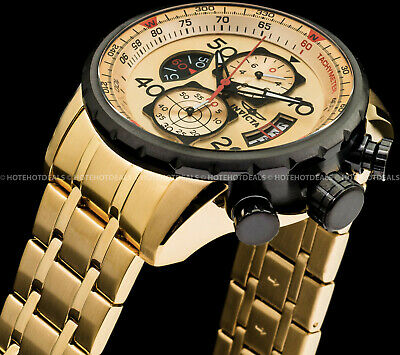 Invicta 48mm Mens AVIATOR Chronograph 18K Gold Plated S Tachymeter Compass Watch