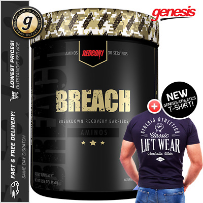 Redcon1 Breach + Free Genesis Athletics T-Shirt - BCAA Muscle Recovery Combo!