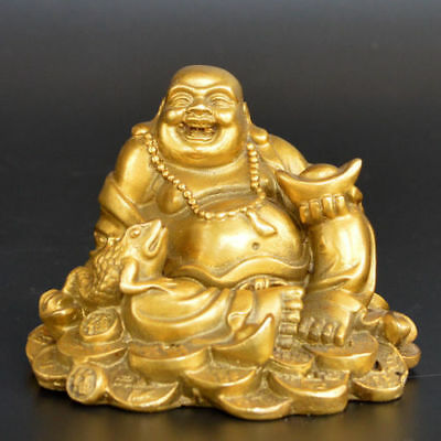 Exquisite old collection handwork brass Smile Buddha Great belly Buddha statue