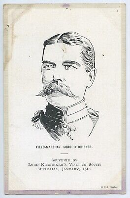 1910 Pt Postcard Field Marshall Lord Kitchener's Visit To South Australia W41