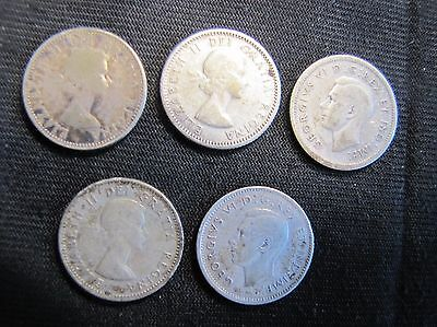 Lot of 5 Canada 10 Cents Silver Coins - 1939, 1945, 1953, 1957, 1960
