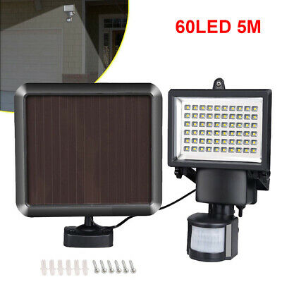 60 Led Solar Power Pir Motion Sensor Security Light Garden Shed Rechargeable