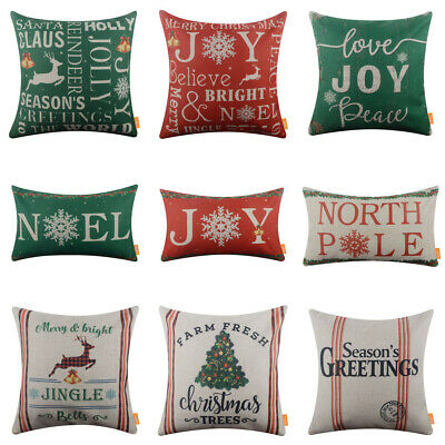 """Merry Christmas Pillow Covers Green Red Noel Joy Xmas Cushion Cover Holiday 18"""""""