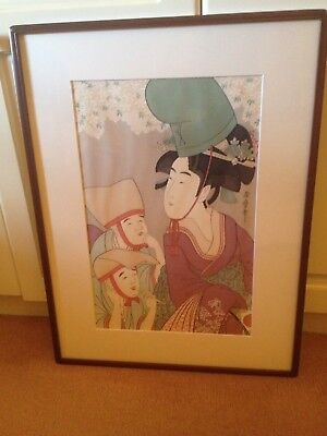 Vintage Japanese Watercolour Geisha Signed