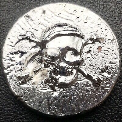 Hand Poured Skull Cross Bones Round 2.84 Troy oz .999 Fine Silver