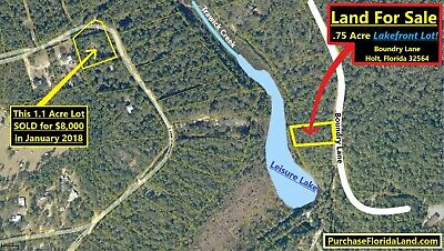 3/4 Acre LAKEFRONT LOT HOLT Florida PANHANDLE Okalossa Cnty FL - Eglin Crestview