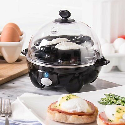 NEW Egg Cooker Electric DASH Poacher 6 Eggs Steamer Rapid Automatic Boiler Black