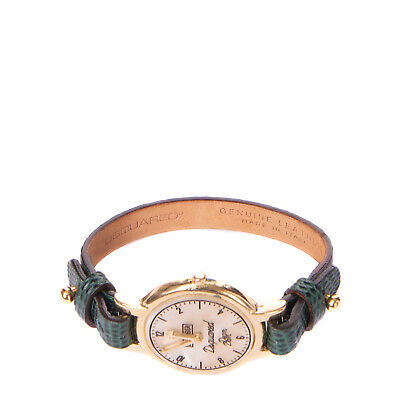 DSQUARED2 Leather Bracelet Reptile Embossed Panel Imitation Watch Made in Italy