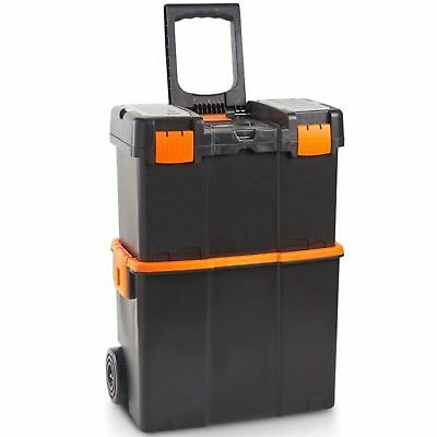 Rolling Tool Storage Box On Wheels Portable Mobile Plastic Chest Mechanic Large