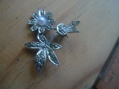 Vintage Marcasite Brooch 1960s Pearl-NZ Estate-better than pics
