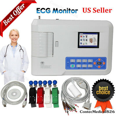 FDA 3 Channel 12 leads ECG Machine Electrocardiograph EKG+Printer,Gift,Software