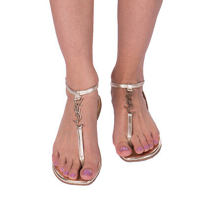 SAINT LAURENT Leather T-Bar Thong Sandals Size 37 UK 4 Made in Italy