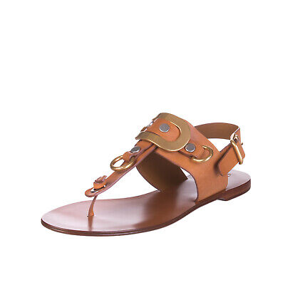 CHLOE Leather Thong Sandals Size 39 UK 6 Pin Buckle Made in Italy
