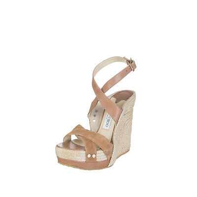 JIMMY CHOO Leather Espadrille Wedge Sandals Size 36 UK 3 Ankle Strap