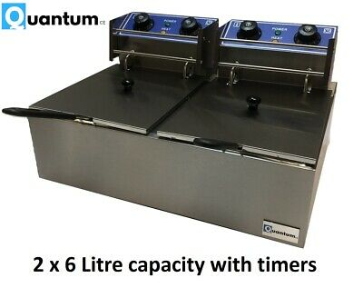 Twin Tank 6 Litre Electric Chips Chip Fryer Table Top With Safety Cut Out