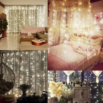 Waterfall 300/600 LED Window Curtain Lights String Fairy Light Wedding Backdrop