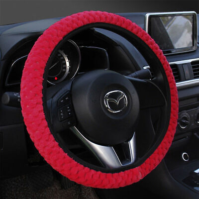 38cm Soft Plush RED Warm Furry Fluffy Thick Faux Fur Car Steering Wheel Cover UK