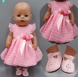 Clothes for dolls fits 43-45cm Baby Born zapf doll Pink Dress Hat Siamese Clothe