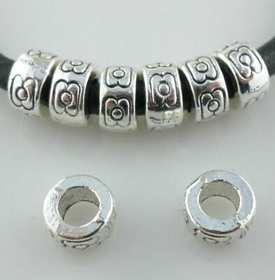 100//300pcs Tibetan Silver Round Rings Charm Loose Spacer Beads 2x7.5mm