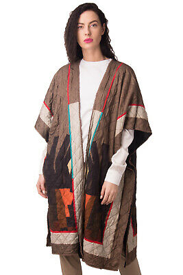 BLANK Quilted Poncho Size XS HANDMADE Faux Fur Inside Patterned Open Front