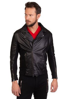 ..,BEAUCOUP Leather Biker Jacket Size L Contrast Wool Blend Back Made in Italy