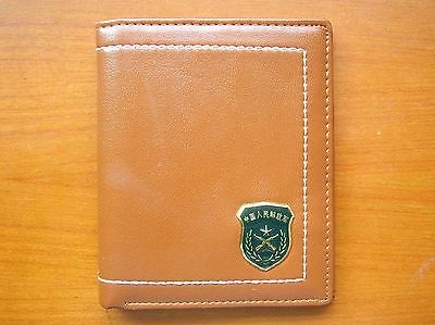 07's series China PLA Army Badge Officer Genuine Leather Wallet,BBB