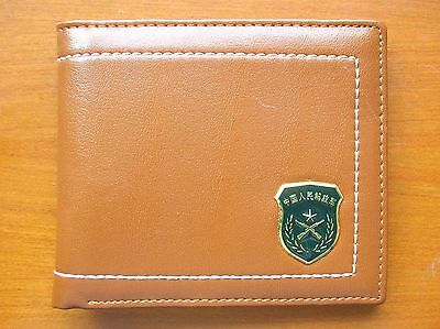 07's series China PLA Army Badge Officer Genuine Leather Wallet,AAA