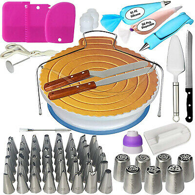 124 PCs Cake Decorating Supplies Kit for Beginners-1 Turntable stand Cake server