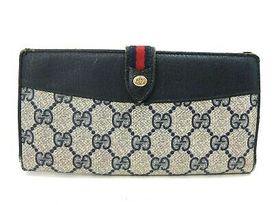 d4e481b1991 AUTHENTIC GUCCI LONG Wallet GG PVC Sherry Vintage Navy Old Trifold ...