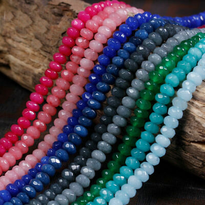 "AAA Natural Gemstone Loose Beads Rondelle Jade 4x6mm 15"" Faceted /Agate /Ruby"