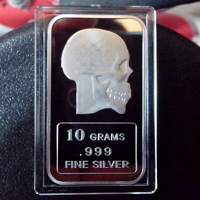 """Skull"" design!, 10 grams .999 Fine Silver Bullion Bar, NEW!      LAST ONE"
