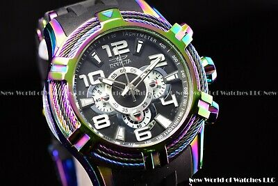 Invicta Mens 51mm Bolt Sea Spider Hybrid Tri Cable Alloy Chrono Iridescent Watch
