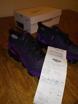Authentic New in Box Nike Air Vapormax Flyknit 2 size 10 Black Purple Mens