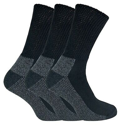 IOMI - 3 Pack Mens Extra Wide Loose Top Cushioned Cotton Diabetic Work Socks