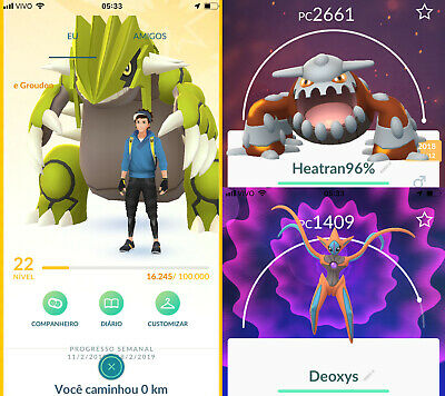 Premium Pokemon Go Account Lv22 - Deoxys, Groudon Shiny, 8x Heatran & More !!