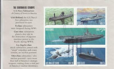 2000, US Navy Submarines Booklet Pane of 5, Used (D6020)