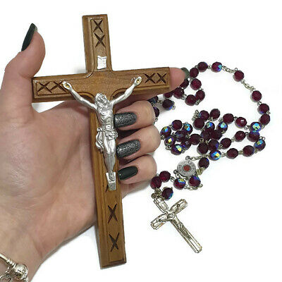 "2 PC Crucifix Cross Olive Wood Jesus Christian Holy Land Hanging Wall "" Necklace"