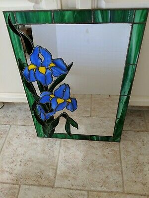 """Leaded Stained Glass MIRROR Wall Hanging  24""""x17"""" EASTER BLUE IRISES shabby chic"""