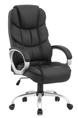 Big Man Office Chair Executive Desk Wheels Arms Heavy Duty Bonded Black Leather