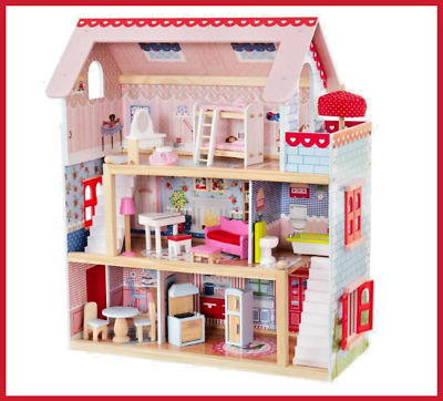 Dollhouse Girls Doll Cottage with 16 Piece Furniture Set Three Levels Fun Games