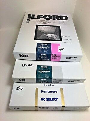 Ilford, Kentmere 8x10inch Various RC photographic papers
