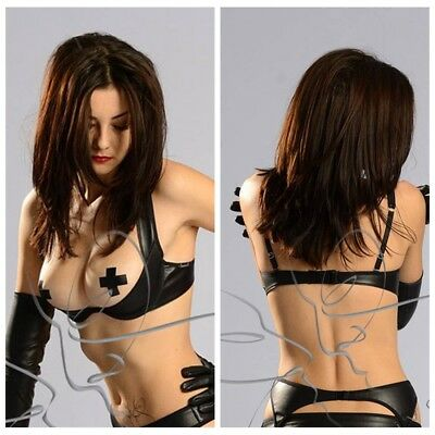 L Women Bra Black Faux Leather Open Cup Bra Sexy Lingerie Exposed Breasts Nipple