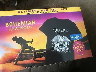 QUEEN BOHEMIAN RHAPSODY MOVIE (BLU-RAY + DVD +  Large T-shirt) GIFT SET Rare