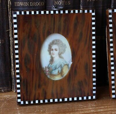 Antique Portrait French Painting Miniatures. King Charles I - Madame Elisabeth