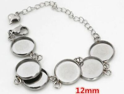 2sets Stainless Steel Bracelet Base and Glass Cabochons