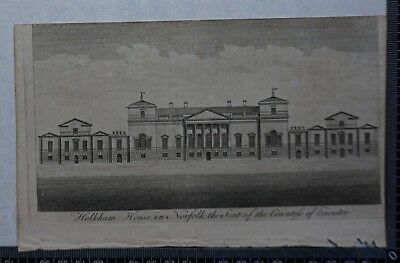 1776 - Engraving of Holkham House in Norfolk, Seat of the Countess of Leicester