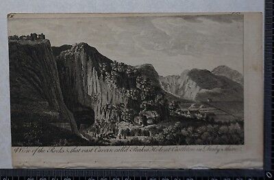 1776 - Engraving of the Rocks and Cavern called Peakes Hole, Castleton in Derbys